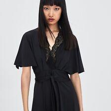 BNWT ZARA Black Silk Look Wrap Tie Dress With Lace Neckline - Size Large