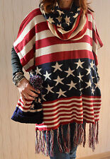 """COOL SET PONCHO/SHAWL+LOOP+HAT """"STARS & STRIPES"""" USA DOUBLE LAYER KNITTED"""