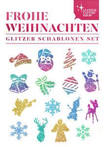 Schablonen Set 32 tlg Kinder Glitzer Tattoo Motive Frohe Weihnachten Tattoos