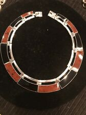 Sterling Silver Agate And Onyx Link Necklace,NWOT