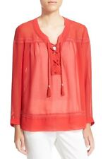 The Kooples Sheer Lace Up Blouse Top Size XXS-XS $245