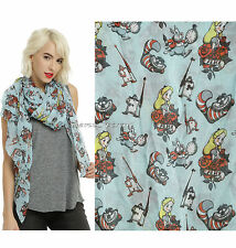 NEW Disney Alice in Wonderland Blue Tattoo Oblong Neck Scarf Hot Topic Exclusive
