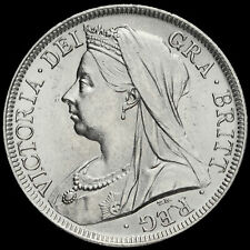 More details for 1900 queen victoria veiled head silver half crown, unc