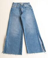 Zara High Waist Wide Leg Crop Denim Jeans Size 00