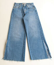 Zara High Waist Wide Leg Crop Denim Jeans Size 00