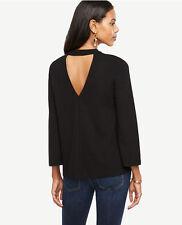 Ann Taylor - Petite XXSP Black Mock Neck Back Cutout Top Blouse $59.50 (40A)