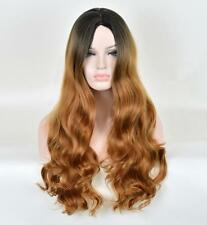 Japanese long curly big wave wig black highlights brown realistic fluffy buckle
