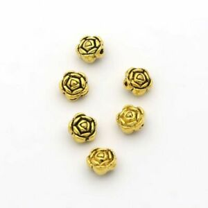 50pcs Antique Flower Rose Beads 6mm Loose Spacer Seed Bead Jewelry Making Access
