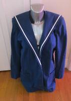 Laura Ashley Navy Sailor Long Jacket/Coat, Blue Collar Vintage Style Size 14