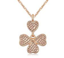 Oro Rosa Trébol de Cuatro Hojas Colgante Collar Regalo para Mujer Piedras de cristal de elementos