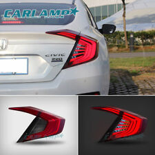 4PCS LED Tail Lights For Honda Civic 10th Gen 2016 2017 Rear Lamps Red&Smoke