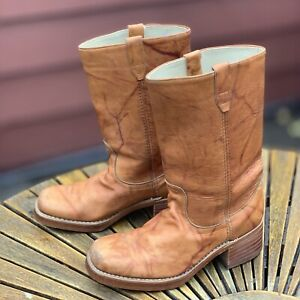 Vtg Ariat Cowboy Boots Marbled Distressed Work Leather 9.5E Motorcycle Western
