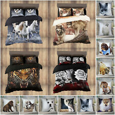 Animal Duvet Cover Quilt Bedding Set + Fitted Sheet & Pillows OR Cushion Covers