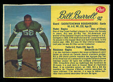 1963 POST CFL FOOTBALL #92 BILL BURRELL EX+ SASKATCHEWAN ROUGHRIDERS Illinois