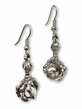 Gothic Dragon Claw Dangle Earrings with Clear Crystal Ball Silver Finish #932