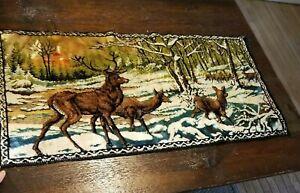 "Vintage Deer Tapestry Wall Hanging Buck Lodge Cabin Décor 19"" x 40"" Rug"