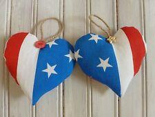 Corazones De Tela Hecho a Mano EE. UU. Stars & Stripes América Bandera Rústica Colgante Corazones