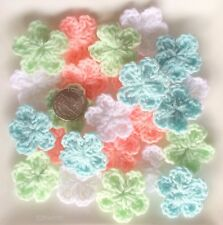 Lot of 20 HANDMADE CROCHET FLOWERS Appliques 3 cm- White, Orange, Blue, green