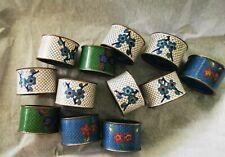 12 Vintage Chinese Cloisonne Napkin Rings w/ Blue Enamel Interior on Brass