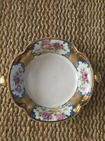 Antique Noritake Handpainted Made In Japan Footed Handled Bowl