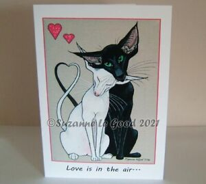 Oriental Cat art Valentine's Day card large from painting by Suzanne Le Good