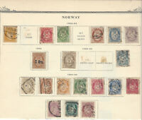 RARE 1883-1899 NORWAY STAMP LOT ON ALBUM PAGE