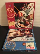 2 VINTAGE MB BETTY CROCKER 550 PIECE PUZZLES ROASTED PORK LOIN HONEY WHEAT BREAD
