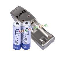 2x Aa 3000 Mah 1.2 V Ni-mh Batería Recargable Bty Celular + Cargador Usb