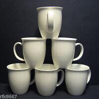 Set Of 6 White Large Tulip Shape Fine Bone China Mug Cups Beakers 12-13 floz