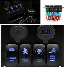 Car Marine Boat Waterproof 4 Gang Switches Panel Dual USB Charger with Blue LED