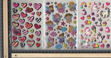 Stickah 3 Sheets of  Assorted Puffy Stickers:1 of Hearts,Fairies,Unicorns