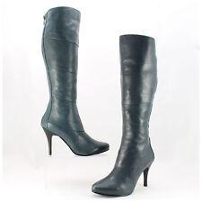 5th Avenue Lederstiefel grau/blau High Heels Stiefel Echtleder mit Zipp hinten