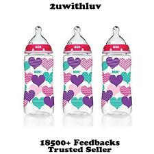 3 X NUK HEARTS FASHION ORTHODONTIC BABY BOTTLES 10 OZ 300ML BPA FREE
