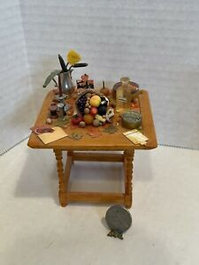 Vintage Artist FOX HOLLOW KATE MCPEAK Fall Table Filled Dollhouse Miniature 1:12