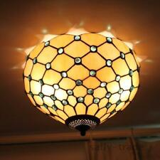 Tiffany Style Flush Mount Stained Glass Double Ceiling Lamp Chandelier Hanging