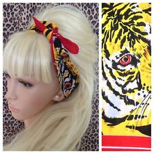 ORANGE TIGER ANIMAL PRINT COTTON SQUARE BANDANA HEAD HAIR NECK TIE SCARF RETRO