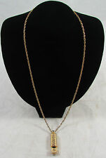 Vintage Metal Engraved Design Gold Tone Whistle Pendant Rope Chain