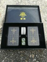 Plastic Chinese Mah-Jongg Mahjong Poker Game Travel Set 144 majiang Cards & case