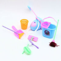 Kids Dolls Pretend Play Toy Cleaning Kit for Dolls(1 Set=9 pcs) Color Random