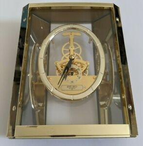 Vintage Seiko Quartz Lucite Brass Skeleton Mantel Clock QAW110G Japan -Beautiful
