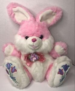 TB Trading Bunny Rabbit Plush Pink Hoppy Hopster Easter Tulips Flower VTG Dandee