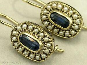 E127 Genuine 9ct Yellow Gold Natural SAPPHIRE & PEARL Cluster Earrings closure