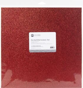 "ETC Papers Non-Shed Glitter Cardstock 12""X12"" 10/Pkg-Red"