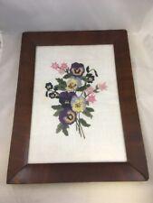 "Vintage Violets & Pink Flowers Framed Embroidery Art Needlepoint 17"" x 12"""