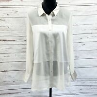 Eileen Fisher Silk Blouse Top Sheer Long Sleeve Button Down Beige Size S