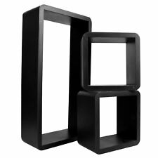 Set Of 3 Rectangle Floating Shelves Wall Storage Book Shelf DVD CD Stand Unit