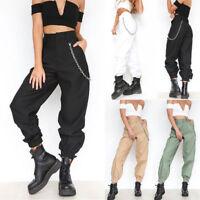 Ladies Womens Cargo Combat Pockets Hip-Pop Trousers Pants Part Elastic Waistband