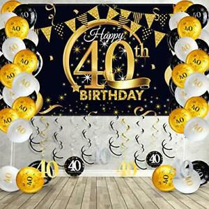 Happy 40th Birthday Party Decorations Kit, Black and Gold Glittery Happy 40th Bi