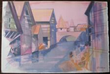 Camille HILAIRE : La Weiss a Kaysersberg - LITHOGRAPHIE SIGNEE  # ALSACE