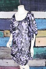 Lane Bryant Purple Polyester Chiffon Tribal Boho Peasant Dress Tunic Plus 18 1X